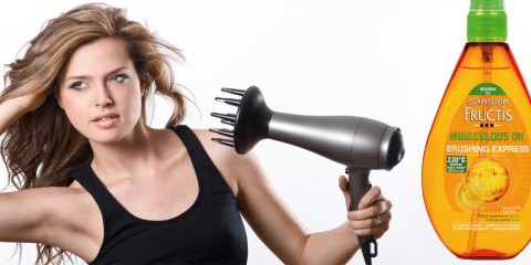 Vlasový olej Garnier urychluje sušení, chrání a dodává lesk