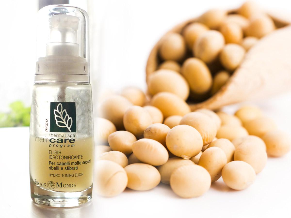 Proteinový derivát ze sóji je jednou z účinných složek Frais Monde Hydro Toning Elixir.