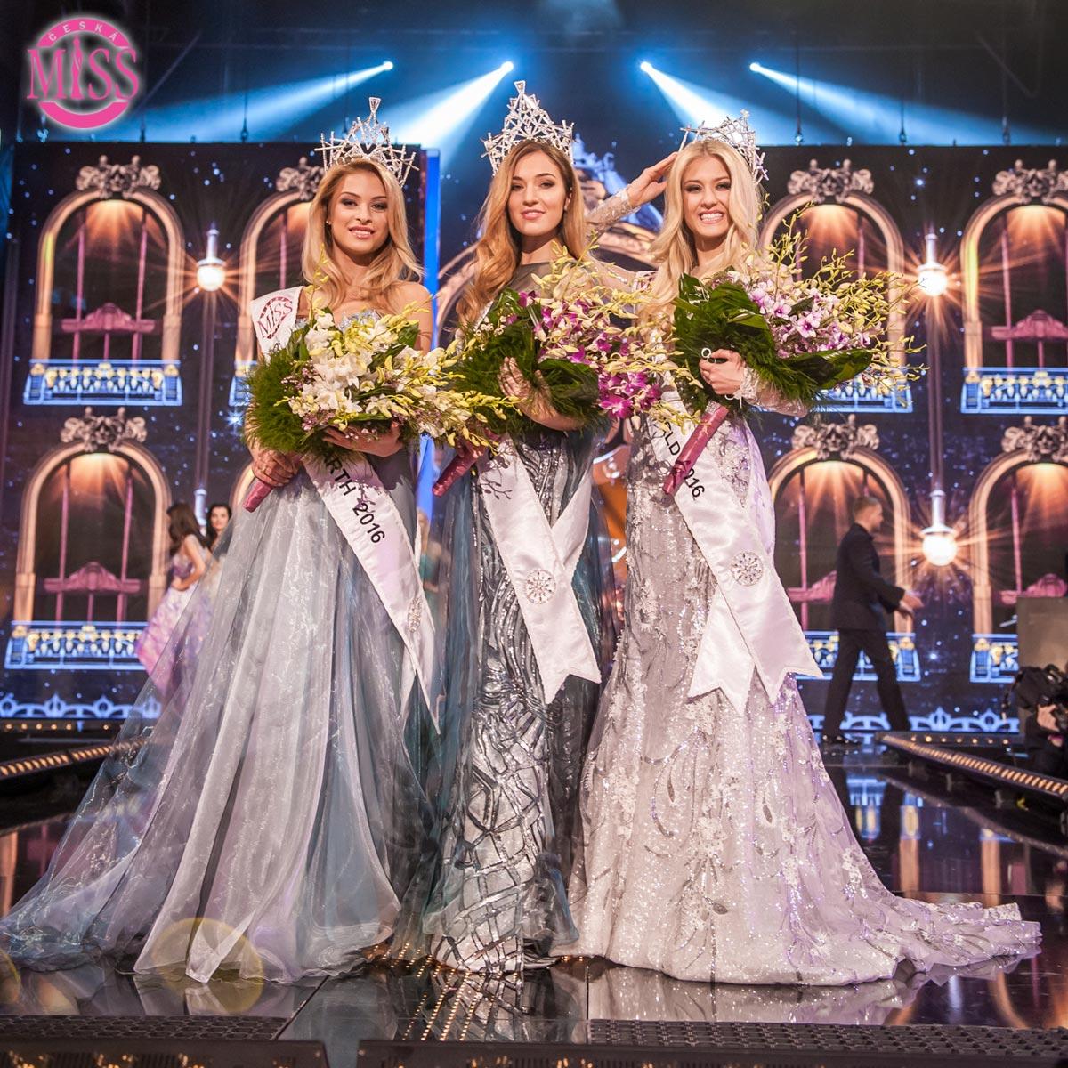 Známe výsledky letošní Miss. Česká Miss 2016 je Andrea Bezděková, finalistka s číslem 4. Českou Miss World 2016 je Natálie Kotková, Českou Miss Earth je Kristína Kubíčková.