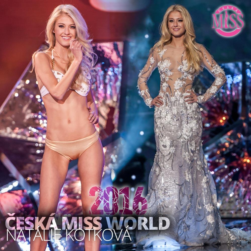 "Druhé místo a titul Česká Miss World 2016 obsadila Natálie Kotková (plavky: <a href=""http://www.anrdoezrs.net/links/7863143/type/dlg/http://www.astratex.cz/plavky/"" target=""_blank"">Astratex</a>, šaty: Blanka Matragi)"