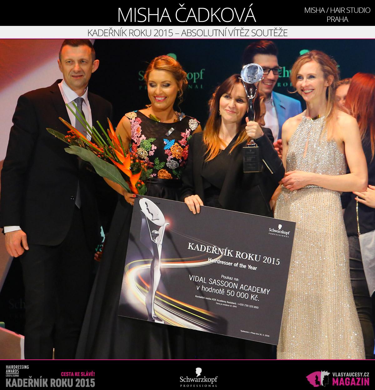 Kadeřníkem roku 2015, tedy absolutním vítězem Czech and Slovak Hairdressing Awards 2015, je Misha Čadková z Misha / hair studio Praha.