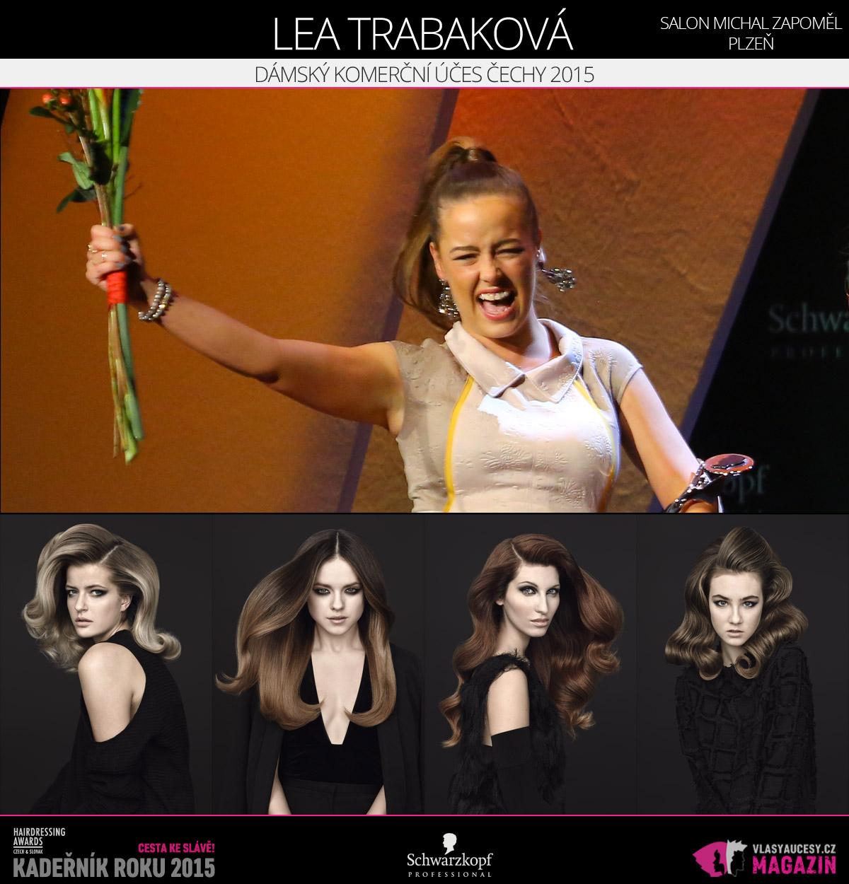 Vítězem v kategorii Dámský komerční účes Čechy Czech and Slovak Hairdressing Awards 2015 je Lea Trabaková ze Salonu Michal Zapoměl v Plzni.