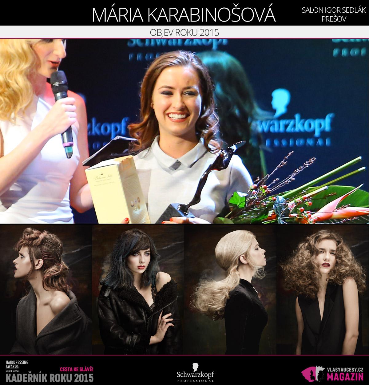 Vítězem v kategorii Objev roku Czech and Slovak Hairdressing Awards 2015 je Mária Karabinošová ze Salonu Igor Sedlák v Prešově.