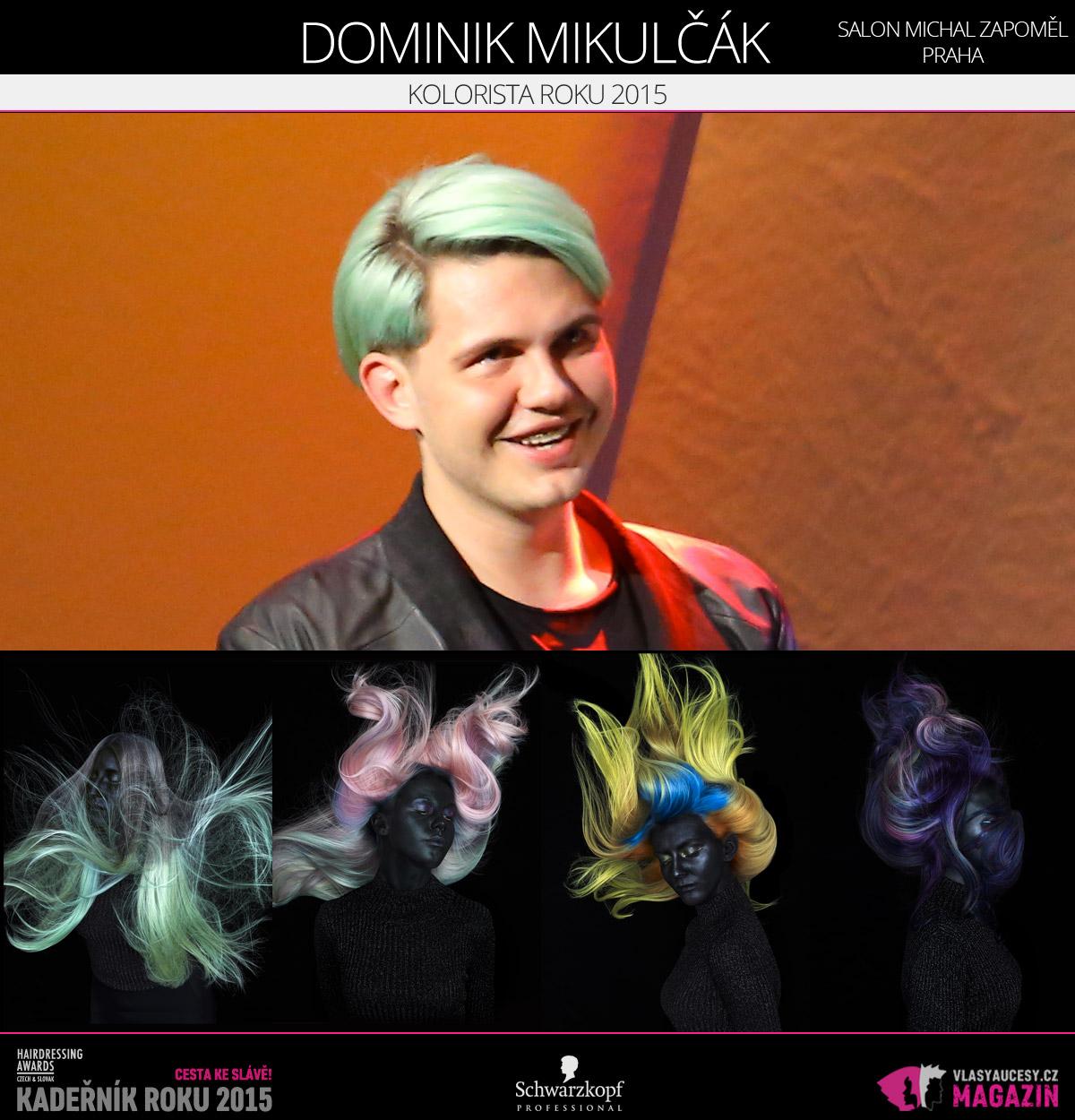 Vítězem v kategorii Kolorista roku Czech and Slovak Hairdressing Awards 2015 je Dominik Mikulčák ze Salonu Michal Zapoměl v Praze.