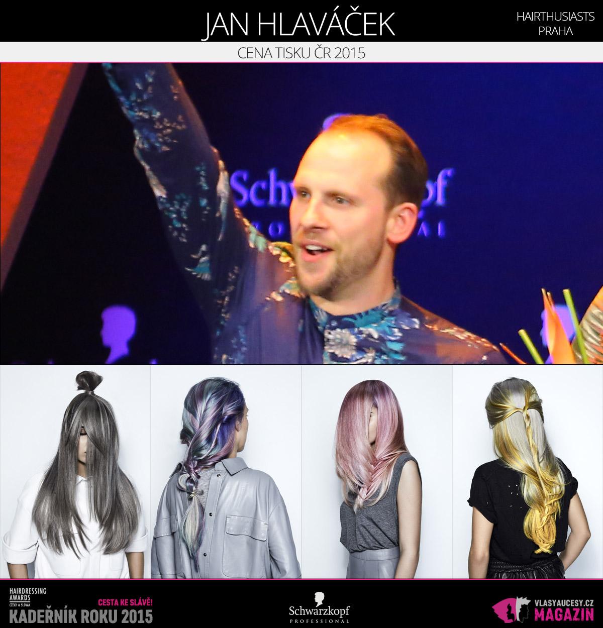 Vítězem v kategorii Cena tisku ČR Czech and Slovak Hairdressing Awards 2015 je Jan Hlaváček z Hairthusiasts v Praze.