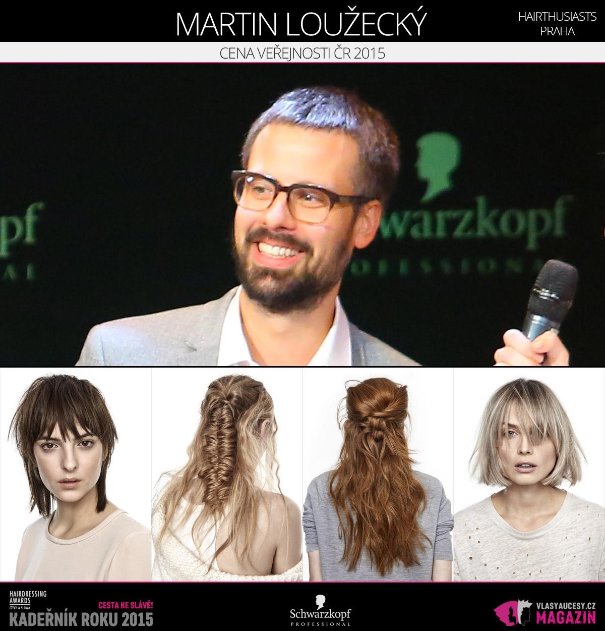 Vítězem v kategorii Cena veřejnosti ČR Czech and Slovak Hairdressing Awards 2015 je Martin Loužecký z Hairthusiasts v Praze.