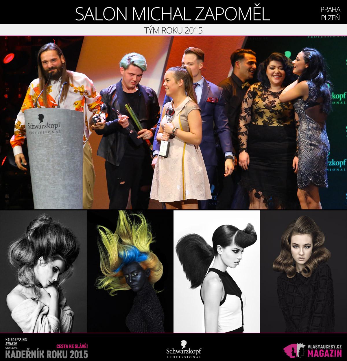 Vítězem v kategorii Tým roku 2015 Czech and Slovak Hairdressing Awards 2015 je Salon Michal Zapoměl.