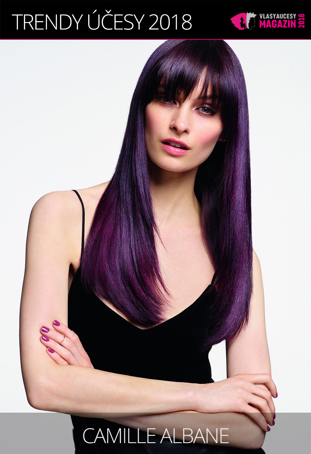 Ultra violet je barva roku 2018 a slušet bude i našim vlasům. (Camille Albane, From one Woman to another Collection)