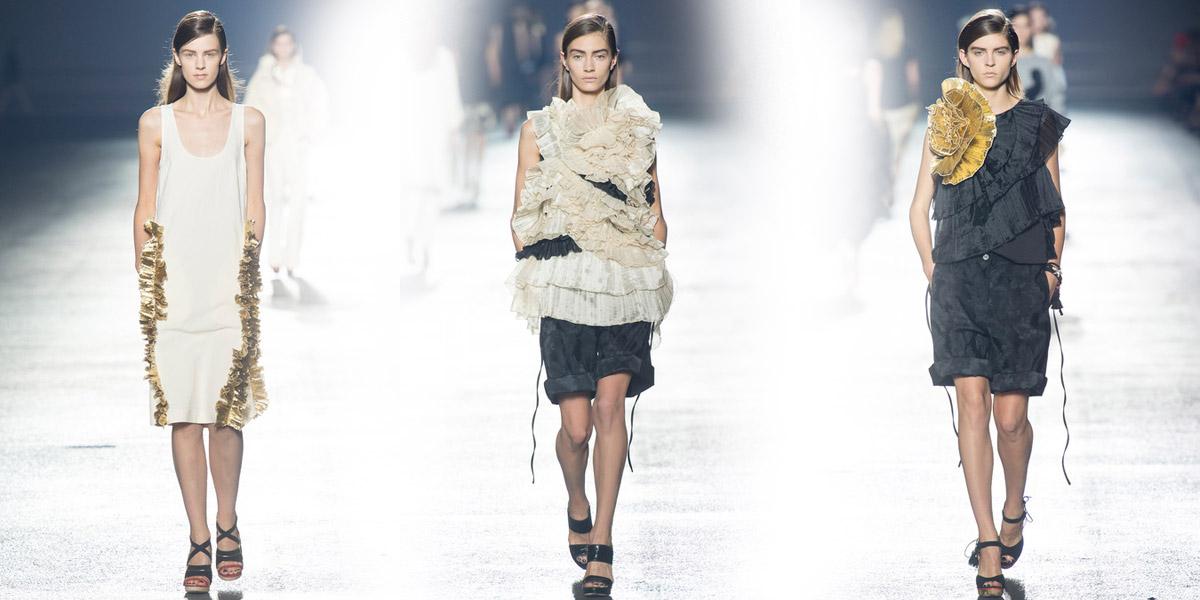 Pozlacená pěšinka ve stylu Dries Van Noten má zpestřit obyčejné denní účesy. Stejně, jako zlaté efekty a slavnostní volány zpestřili na modelech značky obyčejnou bavlnu nebo streetstylové oblečení.