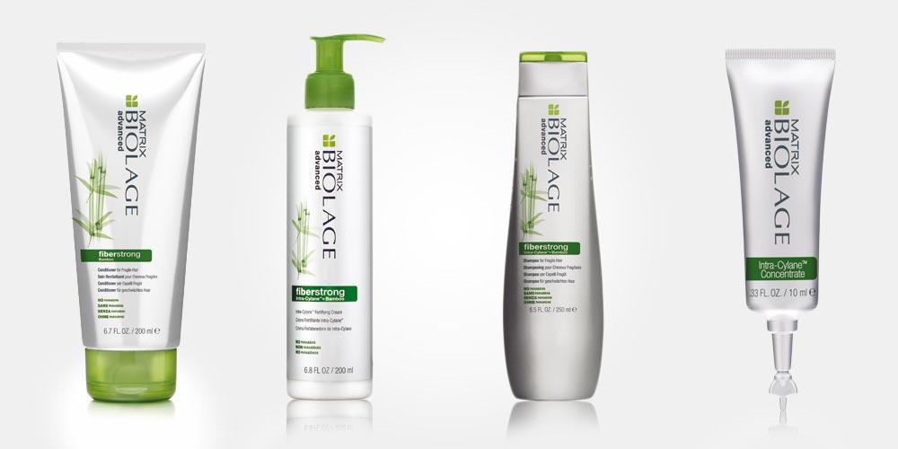 Vlasová kosmetika Biolage Fiber Strong od Matrix obsahuje šampon, kondicionér a posilující krém na vlasy. Součástí řady je také maska na vlasy Biolage Fiber Strong, ta se však vČR a SR na trh uvedena nebyla.