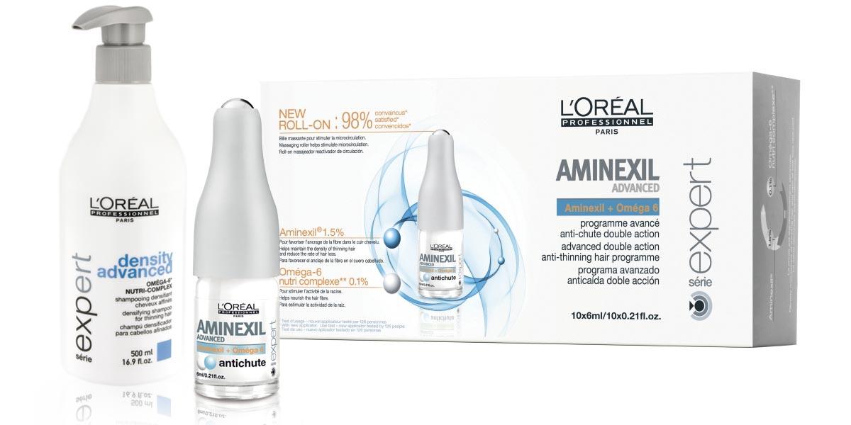 Aminexil působí proti tuhnutí kolagenu, posiluje vlasový kořínek a zabraňuje předčasnému padání vlasů.