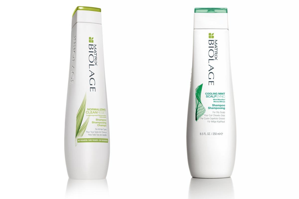 BIOLAGE SCULPTSYNC Cooling Mint šampon a  BIOLAGE CLEAN RESET šampon.