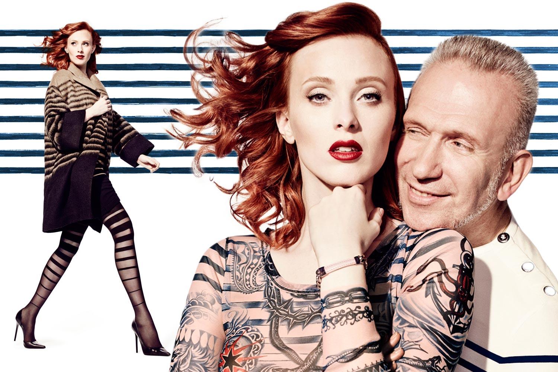 Ukázková měděná barva na vlasy teď doprovází modelku Karen Elson v kampani Jean Paul Gaultier pro Lindex.