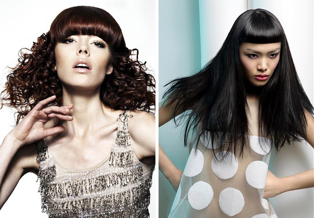 Dlouhé vlasy s ofinou mají mnoho možností – zkuste je! (Účesy z kolekcí kadeřníků: vlevo Michael John, vpravo Sanrizz.)