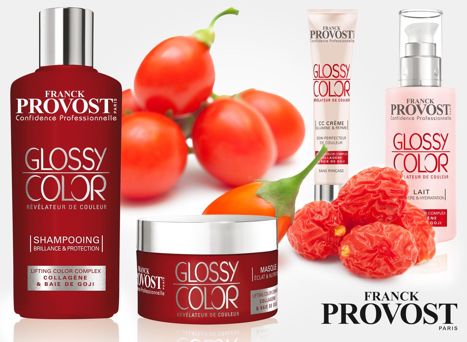 Nová řada profesionální vlasové péče Glossy Color od Franck Provost. obsahuje kolagen a extrakt z bobulí Goji. Jejím hitem je CC krém na vlasy!
