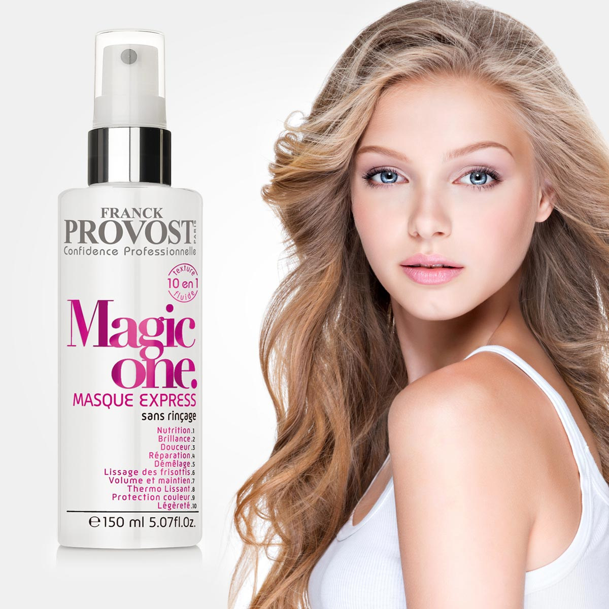 """Řada profesionální vlasové kosmetiky Franck Provost se rozrůstá o """"must have"""" produkt Magic One. Expresní neoplachovací maska 10 v 1 nabízí skvělé vlasy jako mávnutím kouzelné hůlky. Vlasy vyživí, zregeneruje, okamžitě se snadno rozčesávají, jsou chráněné proti UV paprskům, jsou lesklé, hebké, pružné, bez krepatění, usnadňuje úpravu účesu a ten drží déle než obvykle."""