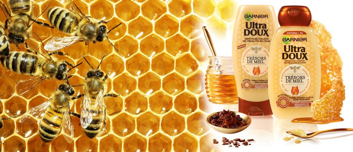 Řada vlasové kosmetiky Garnier Ultra Doux Tresors de miel nabízí regeneraci pro oslabené a lámavé vlasy. Tajemství se ukrývá v medu!