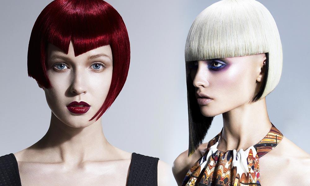 Mikádo může mít různé délky, střihy, styling i barvy. Jaké si vyberete? (Vlevo: Robert John – Ben Driscoll-Price & Robert John / British Hairdressing Awards 2014, vpravo: Francesco Group – Lisa Walby & Francesco Group Cheltenham.)