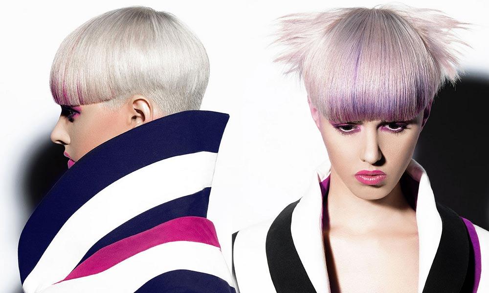 Krátké mikádo s kolorovanou ofinou. (Schwarzkopf – Santos Hair Works Collection / Schwarzkopf creative team.)