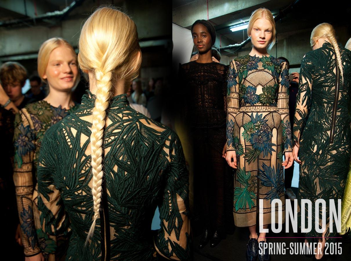 Nápady na účesy z London Fashion Week S/S 2015: Erdem.