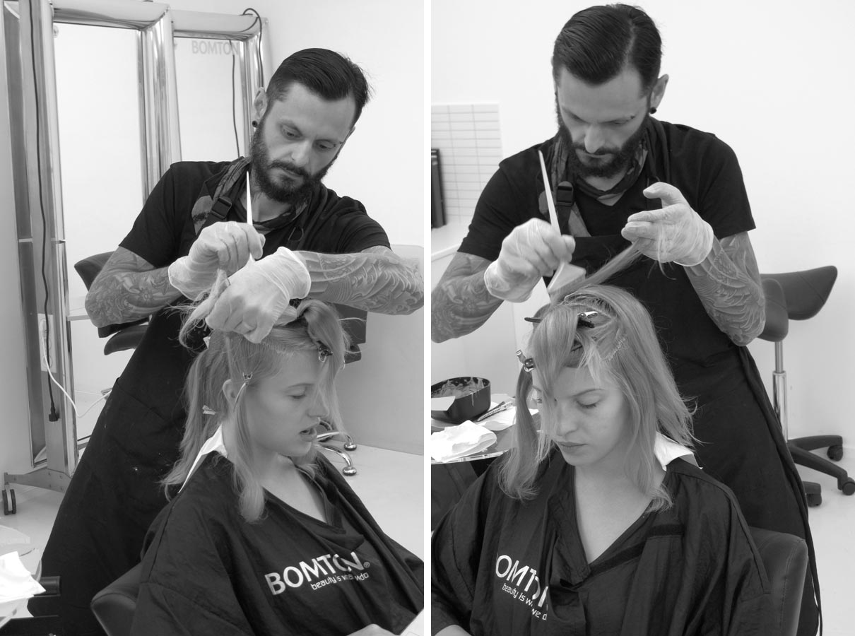 Karel Dražan při tvorbě účesu Blond Silhouette Redken podzim/zima 2014/2015