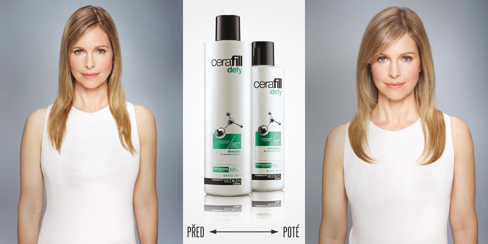 Cerafill pomáhá proti řídnutí vlasů. Před a po používání Cerafill Defy spolu s úpravou střihu, barvy a stylingu.
