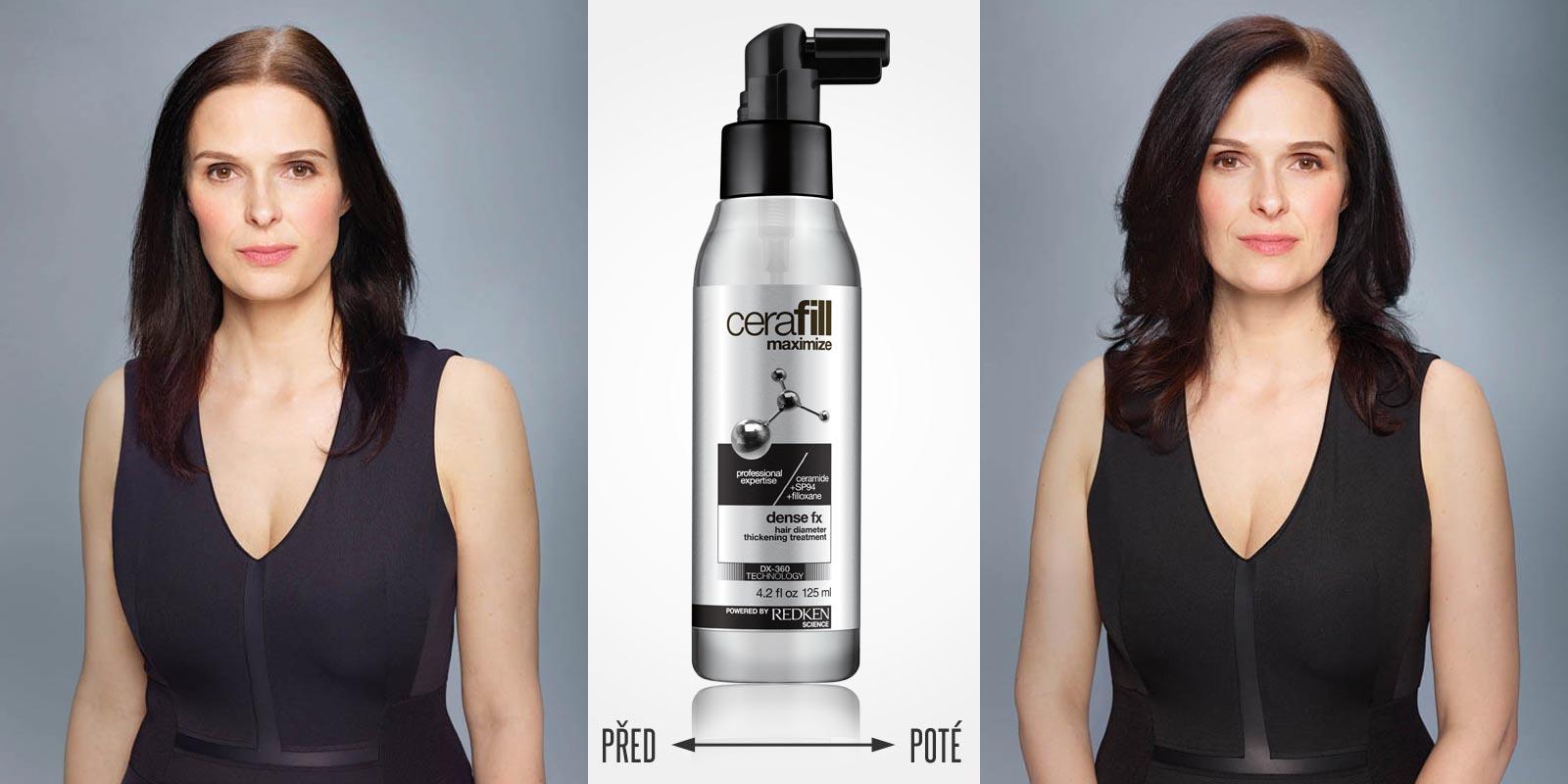 Před a po používání Cerafill Defence FX od Redken spolu s úpravou střihu, barvy a stylingu.
