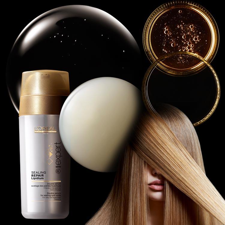 Dvojfázové sérum pro roztřepené konečky Sealing repair lipidium je odpovědí na otázku, co na roztřepené vlasy.