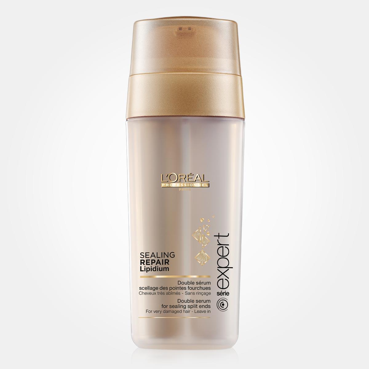 L`Oréal Sealing repair lipidum vyřeší problém třepících se konečků vlasů. Lipidy, které zabezpečuji opravu vlasu a ceramidy, které tvoří ochrannou vrstvu vlasu, jsou smíchaný až těsně před samotnou aplikaci.