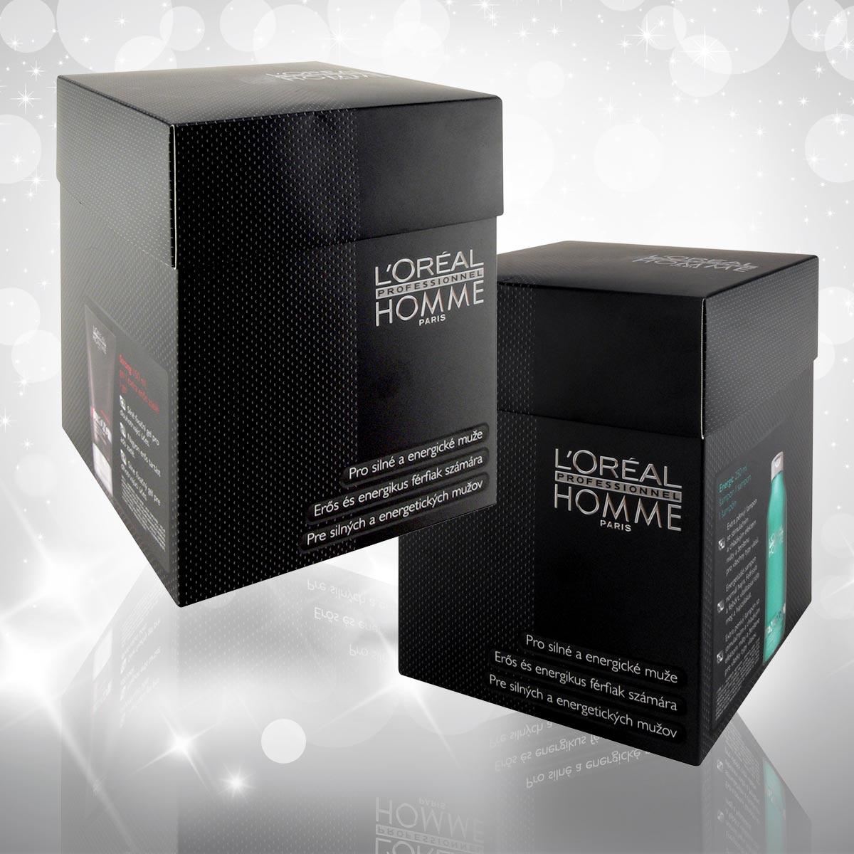 Vánoční dárky L'Oréal Professionnel 2014 pro muže – speciální dárkový balíček obsahuje energizující šampon a gel strong.