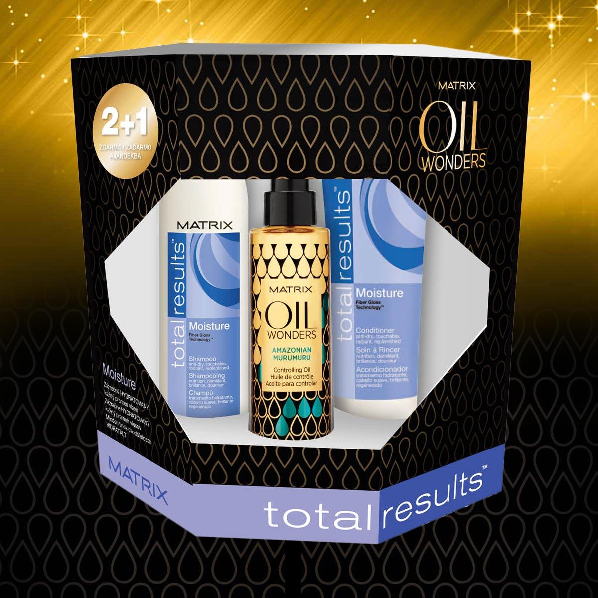 Moisture – vánoční balíček Oil Wonders od Matrix pro suché vlasy