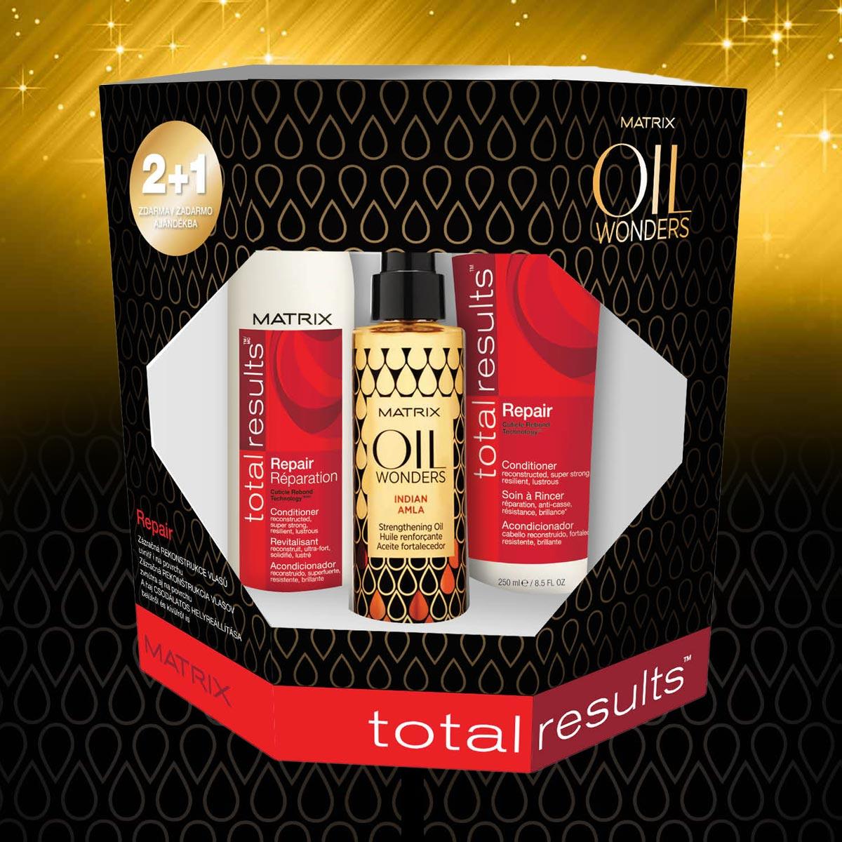 Repair – vánoční balíček Oil Wonders od Matrix pro poškozené vlasy