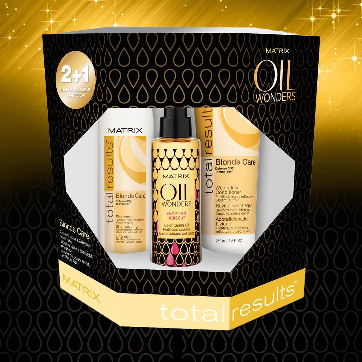 Blond care – vánoční balíček Oil Wonders od Matrix pro přírodní a melírované blond vlasy