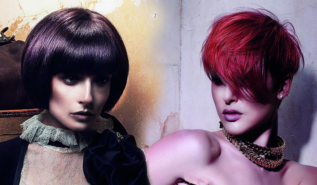 Účesy na ples pro krátké vlasy milují barvy – nebojte se výrazných barev ladících s outfitem večerní róby.