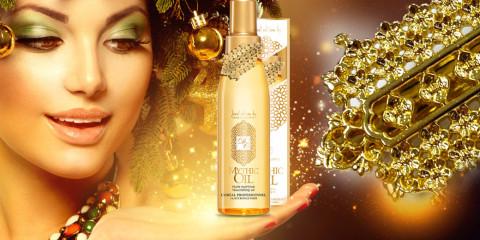 Luxusní vlasový olej Mythic Oil se šperkem se nabízí pouze ve speciální vánoční edici. Šperk je od známé šperkařské firmy Dear Charlotte.