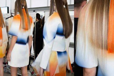 Když se spojí oblíbené blondré a barevný cop, vznikne úžasnější účes, než byste čekali. Y Salon jej připravil pro módní přehlídku Haryono Setiadi.