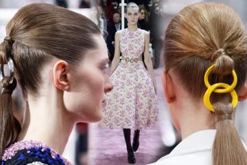 Haute Couture Spring 2015 módní přehlídky to není jenom móda, ale také skvělé účesy. A Christian Dior představil svůj nápad na falešný culík!