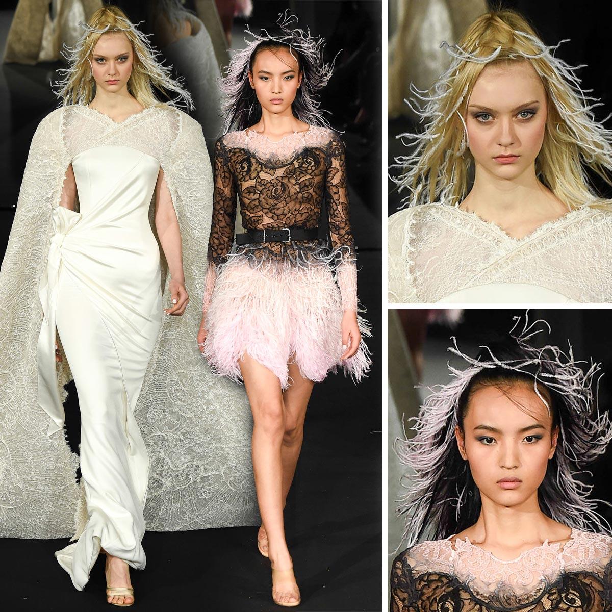 Společenské účesy zdobené peřím podle Alexis Mabille (Haute Couture Jaro 2015).