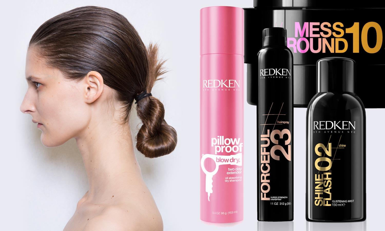 Účes pro vlasy, které nemají svůj den, může mít také luxusní variantu na party či posloužit jako účes na ples. Účes připravila značka Redken pro módní přehlídku značky Céline.
