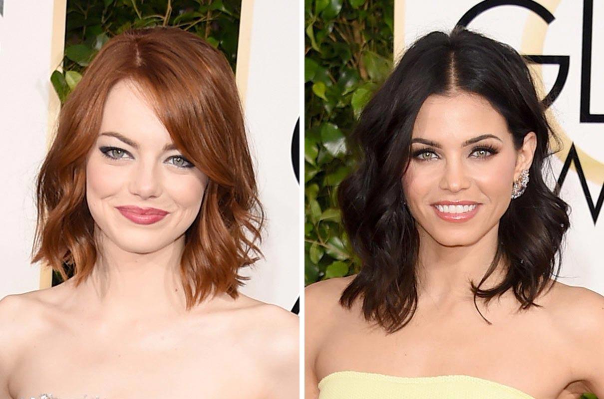 Vlnitý lob je ideální řešení pro slavnostní účesy z polodlouhých vlasů. Podobný zvolily na Golden Globes 2015 Emma Stone nebo Jenna Dewan.