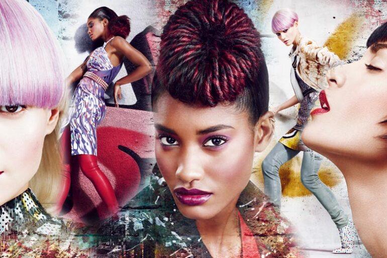 Nové jarní dámské účesy z kolekce kadeřníků Matrix inspirovala móda ulice a street art graffity. Účesy mají moderní střihy a poutavé barvy.
