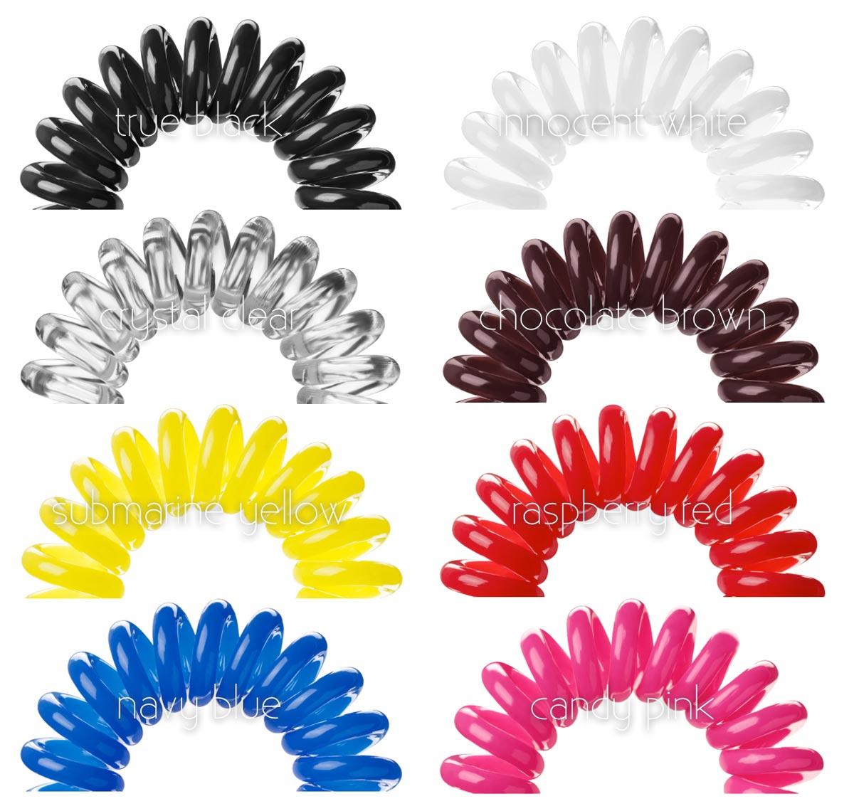 Stabilní kolekce Invisibobble v několika barvách.