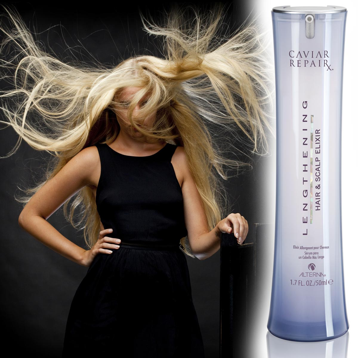 Jak urychlit růst vlasů? Zkuste Caviar RepairX Lengthening Hair & Scalp Elixir od Alterna.