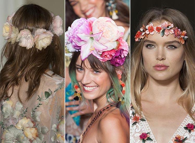 Trendy účesy 2015: Rok 2015 bude patřit květinám ve vlasech. Nosí se květinové čelenky i korunky.