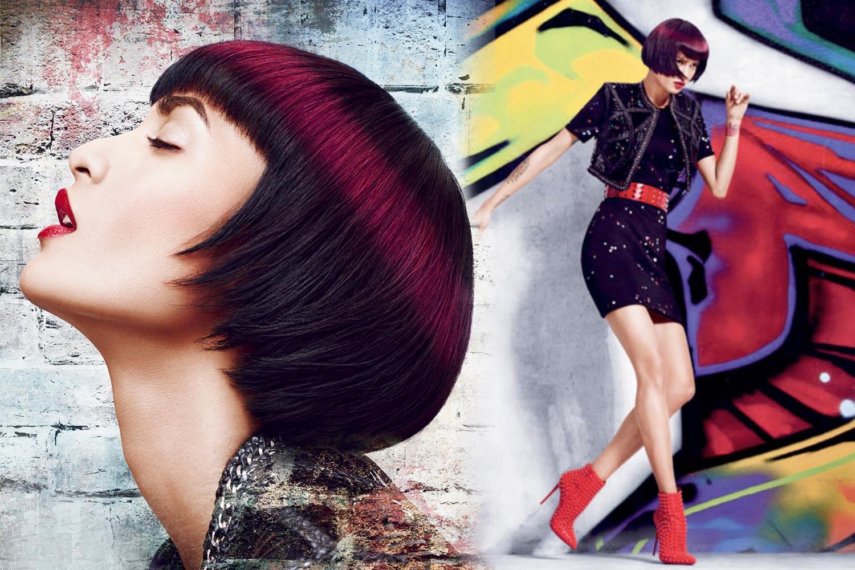 Jarní dámské účesy 2015 Matrix: Trendy bob se svatozáří ulice v barvě Marsala.