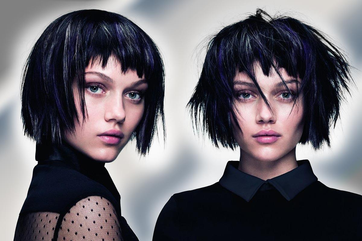 Černé vlasy a stříbrný melír kombinujte s modrými a fialovými akcenty. (Účesy jsou z kolekce SHINE – Davines Collection 2015 a za účesy stojí kadeřník Angelo Seminara.)