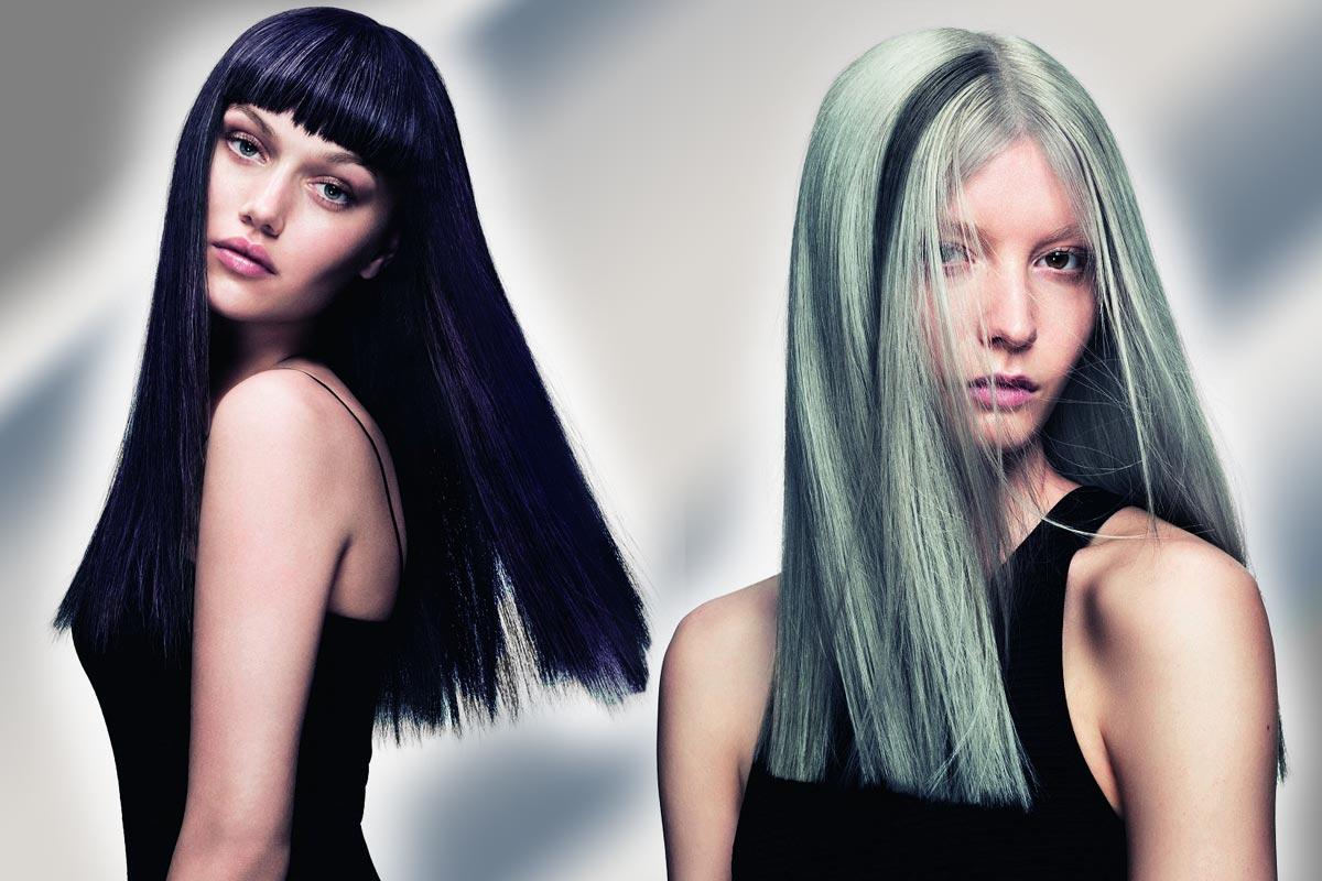 Černé vlasy vs. stříbrné – která varianta se vám líbí více? (Účesy jsou z kolekce SHINE – Davines Collection 2015 a za účesy stojí kadeřník Angelo Seminara.)