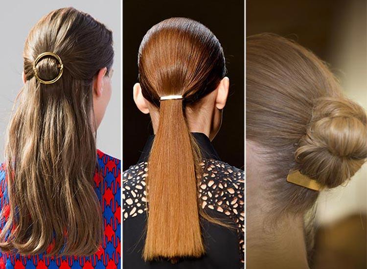 Trendy účesy 2015: Kovové doplňky do vlasů volte v roce 2015 zlaté.