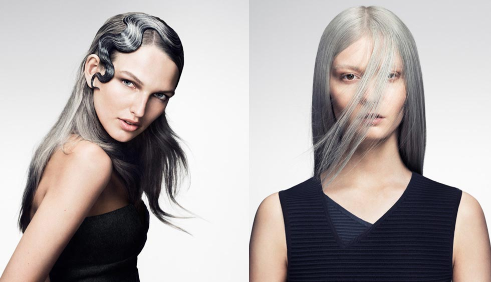 Stříbrné vlasy a účesu jsou hitem roku 2015. (Účesy jsou z kolekce SHINE – Davines Collection 2015 a za účesy stojí kadeřník Angelo Seminara.)