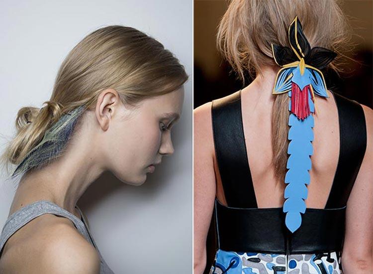 Trendy účesy 2015: U dlouhých vlasů se soustřeďte na kreativní sepnutí vlasů do různých ohonů.